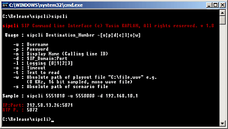 SipCLI Command Line Parameters