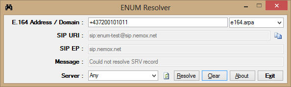 ENUM Resolver Screen shot